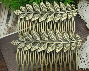 2 Pcs Antiqued Vintage Bronze 14 Teeth Barrette Hair Combs(BH-02)