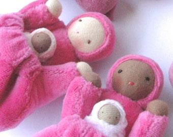 Pocket mama doll waldorf toy biracial family natural fiber custom doll