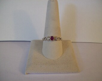 Sterling Silver Ruby & Diamond chip Ring Size 9 1/2