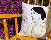 Reserved listing for wickedcurlz (two pillow) Virginia Woolf and Frida Kahlo, Portrait of a Woman, Designer Pillow, Hand Embroidered Pillow