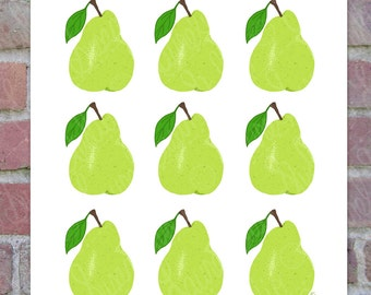 Yellow Green Pears Printable Art, Hand Drawn Art, Kitchen Food Fruit Digital Wall Art, PNG, JPG, PDF