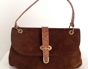 Vintage Brown Suede Handbag with Genuine Snakeskin Handle and Trim