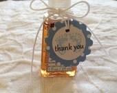 Set Of 12 Mini Scallop Blue Baby Polka Dot Feet Thank You Tags - Nail Polish Tags - Baby Shower Favor Tag
