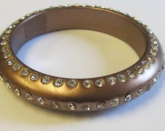Vintage Plastic Rhinestone Bronze Bangle Bracelet
