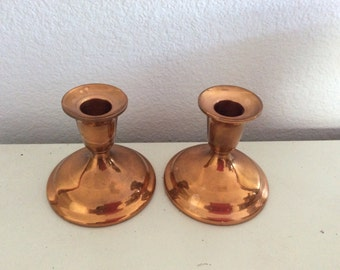 Pair Vintage Copper Candlesticks - Patina - Elegant Romantic  - French Country -  Farmhouse - Centerpiece - Candle Holders - Wedding Cottage