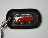 VW Bus Dog Tag Key Ring