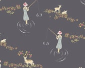 Emmy Grace - Fawn Day - Murk - Art Gallery fabric , deer, vintage, pond, navy, gray