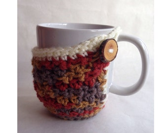 Brown Mug Cozy With Wood Button
