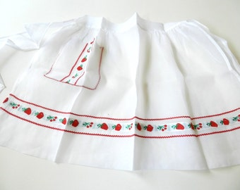 Vintage Sheer White Red Apples Cherries Strawberries Trim Apron with Rick Rack