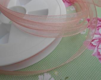"""Ribbon Chiffon Organza Pink Luxe 1/4""""width 10 Yards"""