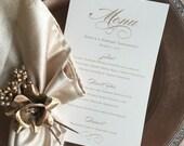 Wedding menu cards, reception menu card, gold and ivory