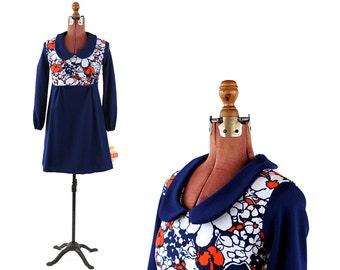 Vintage 1960's Navy Blue Modern Op Art Baby Doll Empire Waist Mini Mod Dress S NOS