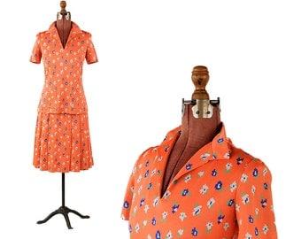 Vintage 1960's Tangerine Orange Mod Abstract Floral Print Shift Scooter Dress Set L
