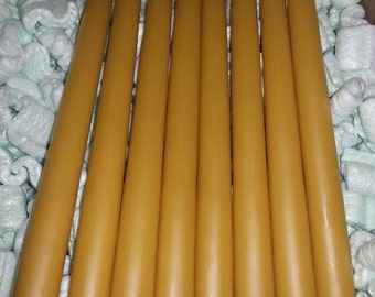 """8 Organic Beeswax candles 12"""" long and 7/8"""" in diameter. FREE SHP"""