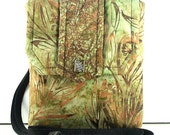 SALE ITEM/ Batik Nature Print Small Padded Pouch / Camera Case / Green and Gold Tote