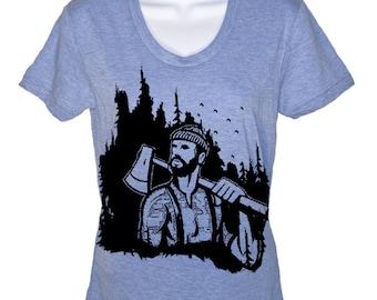 Lumberjack Woodland T-Shirt - American Apparel womens Tshirt - S M L XL (20 Color Options)