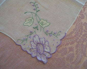 Vintage Springtime Handkerchief Lavender Applied Flower with Embroidery