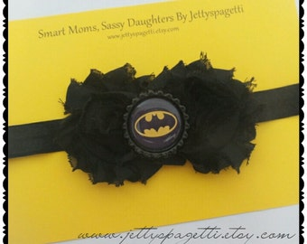 Batman Shabby Chic Headband-Black Shabby Chic Roses Flowers-yellow/black or Pink/black