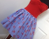 Full Anchors Away Skater Skirt - Fits all Sizes Including Plus Sizes -  High Waisted Mini - Handmade - Blue & White Striped with Red Anchors