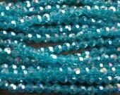 Light Blue Crystal Beads, AB Coated, Round, 4mm, 95pcs