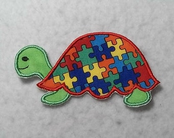 Turtle Autism Awareness Puzzle Piece (small) Tutu & Shirt Supplies - fabric iron on Applique Patch 7671