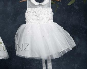 Junior Bridesmaid Dress, Flower Girl Dress, White Dress (GK002)