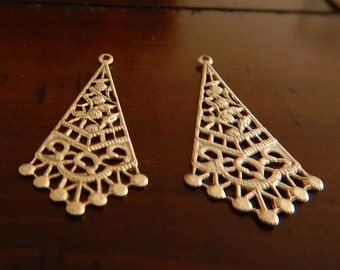 2 Antiqued Silver Plated Brass Fancy Dangle Earring Finding Focal