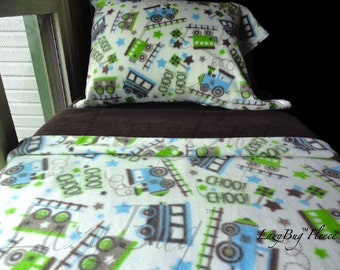 Train Bedding for Children Fleece 'Trains and Chocolate' Nursery Bedding Set Handmade Baby Shower Fits Toddler and Crib Beds