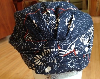 Beautiful vintage custom handmade Japanese cotton cloche hat beanie - One of a Kind