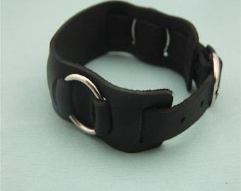 black/brown leather buckle bracelet wrist cuff cover fashion handmade thin leather bracelet engrave cool bracelet