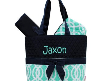 Personalized Geometric Vine Pattern Quilted Diaper Bag Set - Green & Navy 3 piece Diaperbag Set FREE Monogram Baby Boy or Girl