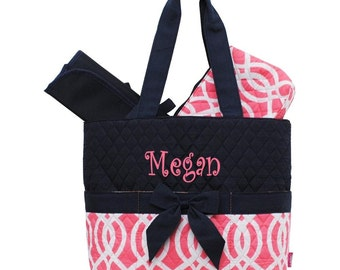 Personalized Geometric Vine Pattern Quilted Diaper Bag Set - Coral & Navy 3 piece Diaperbag Set FREE Monogram