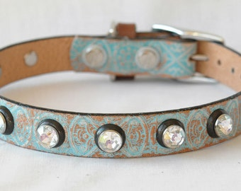 Leather Dog Collar, Turquoise with Black and Clear Rivets - size Medium Dog Collar , or Small Dog Collar