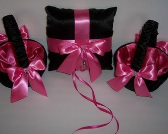 black and pink weddings  2 flower girl baskets and 1 ring bearers pillow