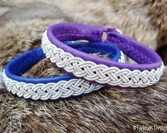 Personalized Genuine Sami Lapland Reindeer Leather Bracelet - Handcrafted Viking Jewelry ASGARD in Purple Leather
