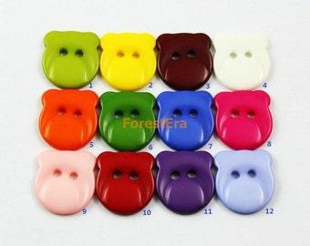 1 Set 210 Pieces 17mm Plastic Buttons Candy Colors Buttons Bear Buttons (ZH34)