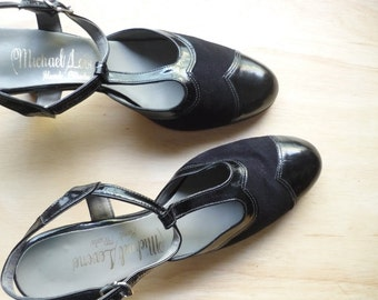 Vintage black patent and suede t-strap closed toe sandals / heels / Michael Levene shoes/ narrow fit