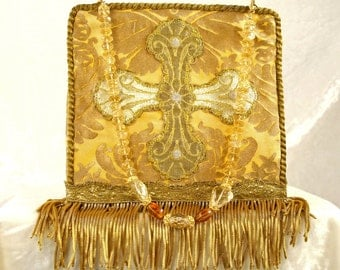 Fortuny wristbag with 19th century  French cross applique and fringe 6137
