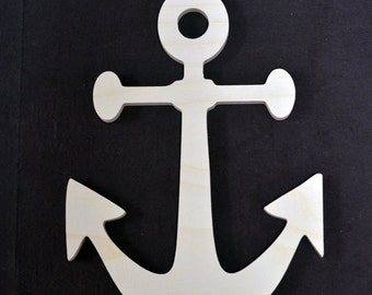 """Wooden Anchor - Nautical Wood cut outs shapes - Anchor cut out wood sign - DIY unfinished sanded and ready for paint 4"""" to 24"""""""