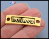 5 BELIEVE Charm Connector - 35mm Rectangle Word Message Metal Gold Believe Connector Link - Instant Ship - USa Discount Charm - 6062