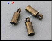 BULK 100 Antiqued BRONZE 8x3mm Glue in Cord END Tip Tube w/ Loop - 2.2mm Inside Hole - Nickel Free Tip up to 2mm Cord Leather - USa - 6096