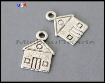 5 HOUSE Charm Dangles - 17mm Antiqued Silver Home School House Metal Pendant - Instant Shipping - USA Wholesale Charms - 6208