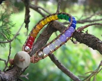 Leather wrap ...bracelet beaded chakra wrap metaphysical healing protection anthropologie sundance style bohemian gypsy layered jade