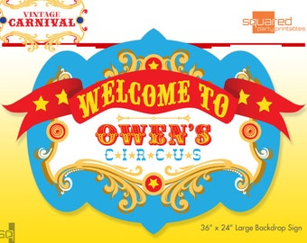 Circus Birthday Backdrop - Party Printable Sign - DIY Print - Primary Colors - Vintage Carnival Party Sign