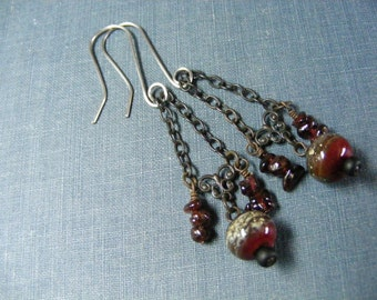 Garnets and Wine Earrings:  Long Dangle Earrings with Rich Black Brass Stainless Steel Garnets and Wine Artisan Lampwork