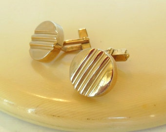 Vintage Swank Cuff Links Gold Line Rounds 50's (item 250)