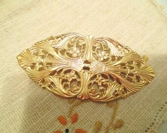 Vintage Brooch Stamped Victorian Large Gold 80's (item 12)