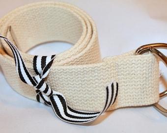 """Webbing Belt Off White Belt Cream Belt Natural Webbing Belt Ladies D Ring Mens D Ring or Slide Buckle 1.5"""" Wide"""