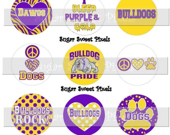 INSTANT DOWNLOAD Purple  Yellow Gold Bulldogs School Mascot 1 inch circle Bottlecap Images