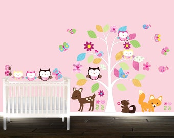 Deer nursery wall decals, playrrom wall stickers, Nursery Tree set, Owl wall decals, tree wall decal, Owls